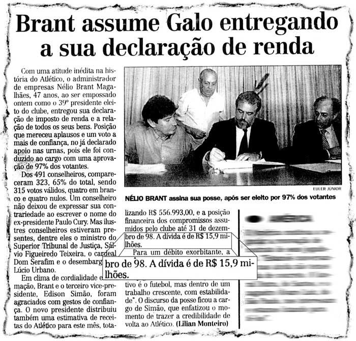 Recorte do Jornal 'Estado de Minas', (out/98), no qual é noticiado, a então dívida do Atético